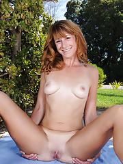 Horny Sophia K spreads wide outdoors