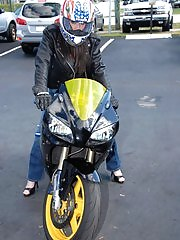 Hot big tits biker babe gets pounded against her motorcycle