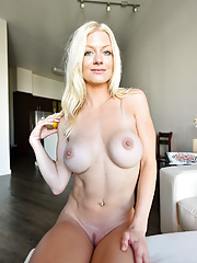 Hot blonde Serene strips off her little dress to bare her body