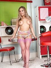 Hot Milf model wife Beth Bennett in pink stockings