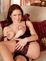 Hot milf pops out her juicy Anilos tits and teases her pussy