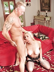 Hot milf Sarah Vandella in stocking eating cum