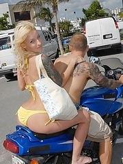 Hot petite blond milf at the beach sexy body yellow bikini