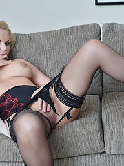 Hot steamy mom masturbating on her couch
