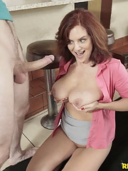 Hot waitress mature Andy James getting cum all over her boobs