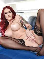Inked redhead MILF Tana Lea sitting on hard cock to receive a hot cum load