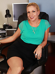 Jessica Taylor strips from her nylons at her office desk