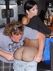 Long long leg fishnet babe get drilled in her tight fucking box at her bar