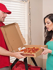 Lucky pizza delivery guy fucks horny mom Kendra Lust in sexy dress