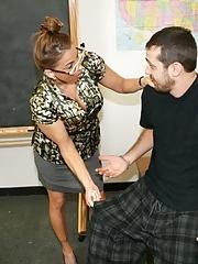Lustful college teacher in glasses seduces