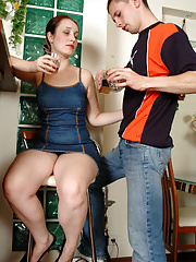 Lusty mature chick seducing a younger hunk at the cafe eager to get laid