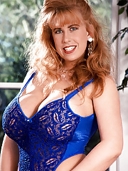 Mature classic model Tabatha Towers with monster boobs stripping down lingerie