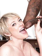 Mature lady Dee Williams gets destroyed riding a black monster black shaft