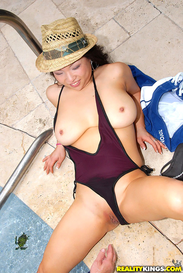Asian in swimsuit gets fucked