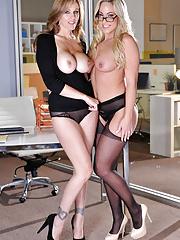 MILF boss Julia Ann seducing Olivia Austin for lesbian sex in the office