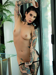 MILF Joanna Angel receives oil massage before riding white big cock