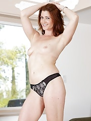 Milf redhead Cici Rhodes showing her tiny tits in a lingerie and sucking a cock