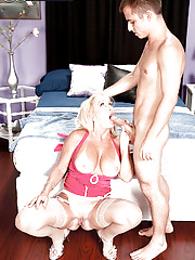 Model granny Julia Butt seduces the next door neighbours soon and gets her pussy drilled