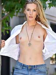 Mona sliding jeans over her skinny perfect body in outdoors