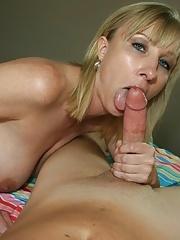 Mother Keri Lynn sucks and slobbers cock