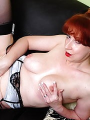 naughty red mature slut loves getting wet