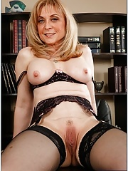 Nina Hartley in her seductive lingerie and stockings nailed by male student