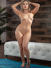 Oiled MILF Ashley Fires in tight pants undressing slowly before footjob