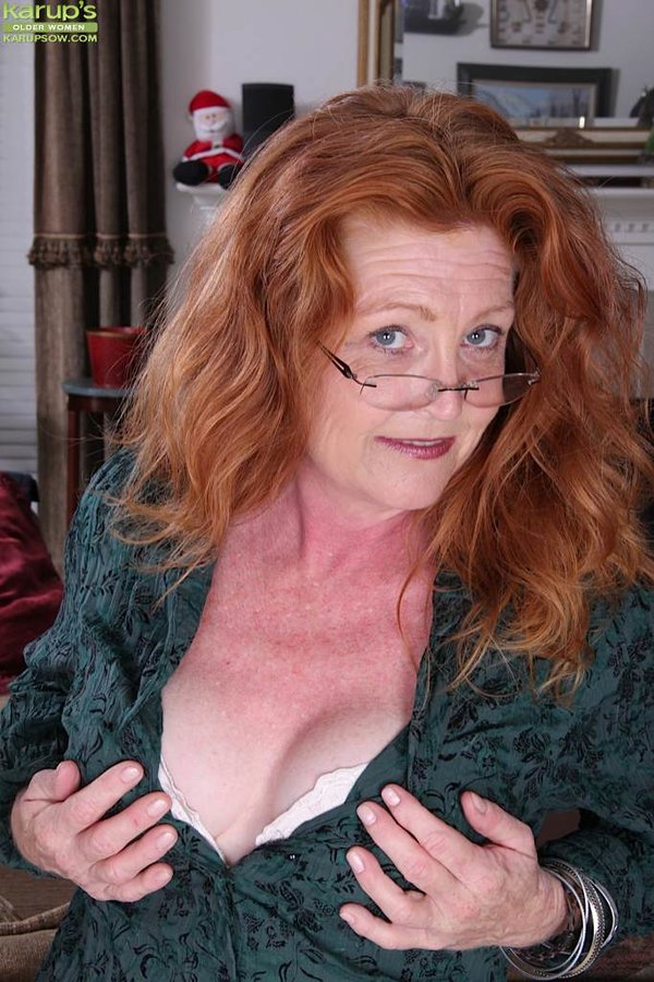 image Hairy grandma in red stockings fingering full bushed pussy