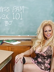 Older teacher flashing panties and undressing in the classroom