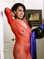 Older woman Gypsy Vixen displaying hairy pussy in crotchless bodystocking