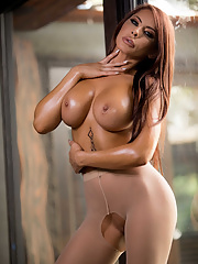 Pantyhose wearing Madison Ivy exposes her creampied pussy