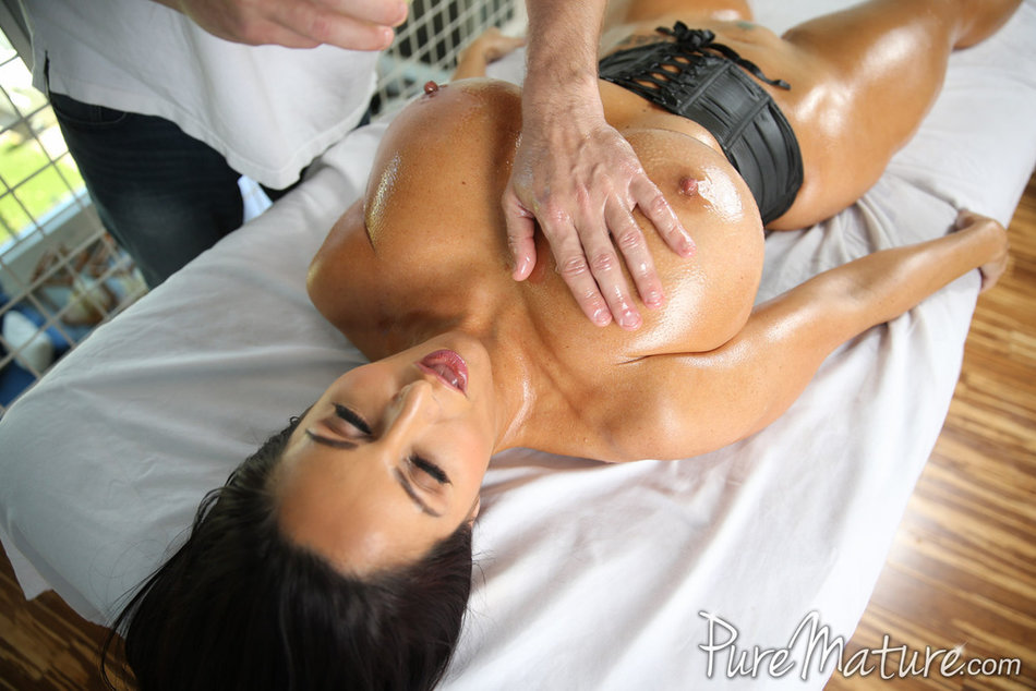 ... Pornstar Ava Addams oiled up for a massage and titty fuck ...