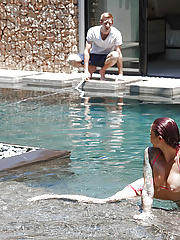 Pornstar Redhead Monique Alexander sucking a white hammer in pool