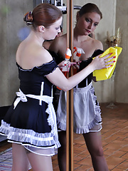 Pretty mature French maid pretends to hurt her ankle to seduce her master