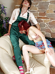 Red-haired mature babe gives a horny worker some advances eager to get laid