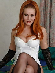 Redhead milf katarina loves to show you her body in stockings