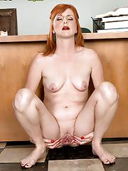 Redhead teacher in nylon pantyhose Sasha Brand toying her pussy