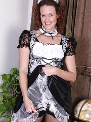 Roxanne Clemmens is a sexy French maid as she slips out of her uniform