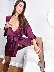 Sexy mature flashes no panty upskirt before going nude