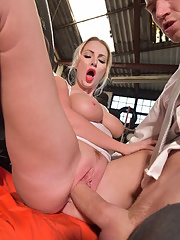 Sexy pornstar Georgie Lyal takes a load of hot jizz on her face