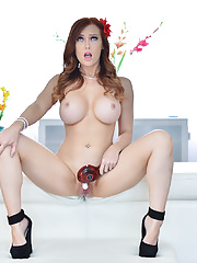 Sexy Redhead Dani Jensen Get Undressed in Her Lacy Lingerie