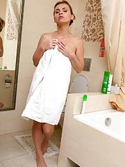 Slender hottie Margarita showering and spraying