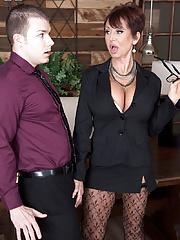 Splendid hot granny secretary takes off her tight skirt in hardcore CFNM