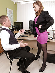Strict boss Luca Bella teaches her employee a lesson