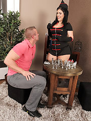 Sultry dark-haired Montse Swinger loses at chess but wins at sex!