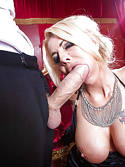 Super blonde mature Tia Layne dressed and sucking big cock