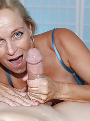 Super horny milf gives that guy an amazing blowjob