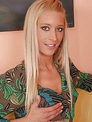 Tall petite mature blonde Uma Zex masturbating