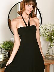 Tall super skinny mature Taylor Foxx strips sexy dress showcases her petite ass