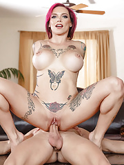 Tattooed Anna Bell Peaks having her busty inked body slammed deep and hard